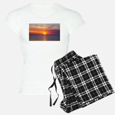 Red Sunrise Over Ocean (2) Pajamas