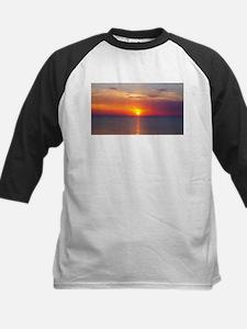 Red Sunrise Over Ocean (2) Baseball Jersey