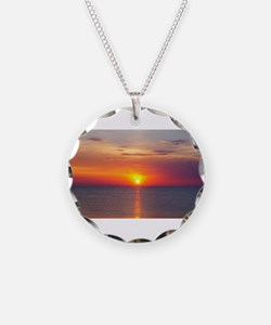Red Sunrise Over Ocean (2) Necklace