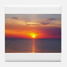 Red Sunrise Over Ocean (2) Tile Coaster