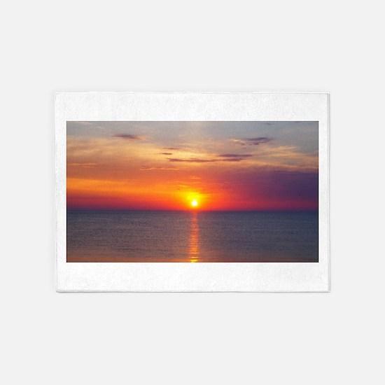Red Sunrise Over Ocean (2) 5'x7'Area Rug