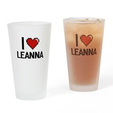 I Love Leanna Digital Retro Design Drinking Glass