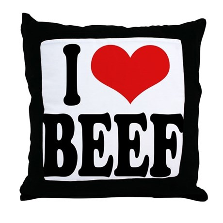 I Love Beef Throw Pillow