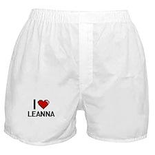 I Love Leanna Digital Retro Design Boxer Shorts