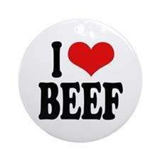 I Love Beef Ornament (Round)
