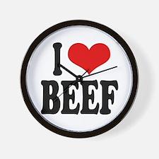 I Love Beef Wall Clock
