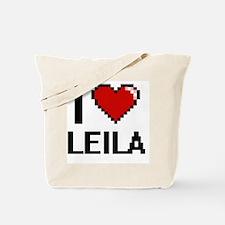 I Love Leila Digital Retro Design Tote Bag