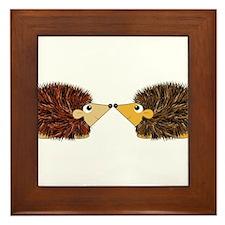 Cuddley Hedgehog Couple Rubbing Noses Framed Tile