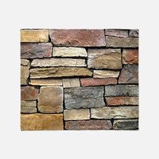 Brick Stone Wall Throw Blanket