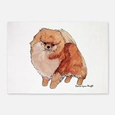 Pomeranian Watercolor 5'x7'area Rug