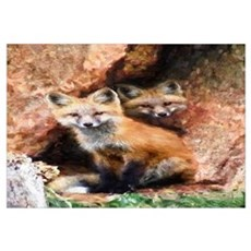 Fox Cubs in Hollow Tree Framed Print