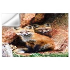 Fox Cubs in Hollow Tree Wall Decal