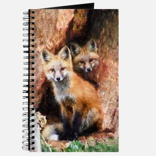 Fox Cubs in Hollow Tree Journal