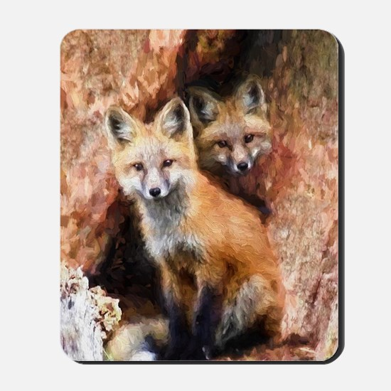 Fox Cubs in Hollow Tree Mousepad