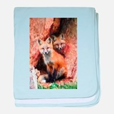 Fox Cubs in Hollow Tree baby blanket