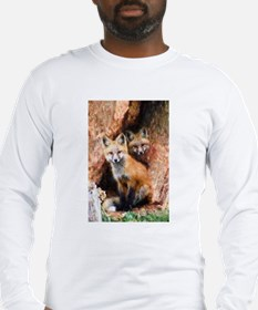 Fox Cubs in Hollow Tree Long Sleeve T-Shirt