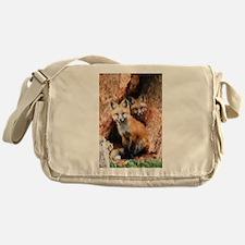 Fox Cubs in Hollow Tree Messenger Bag