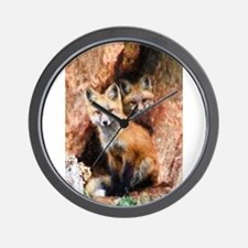 Fox Cubs in Hollow Tree Wall Clock