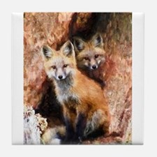 Fox Cubs in Hollow Tree Tile Coaster