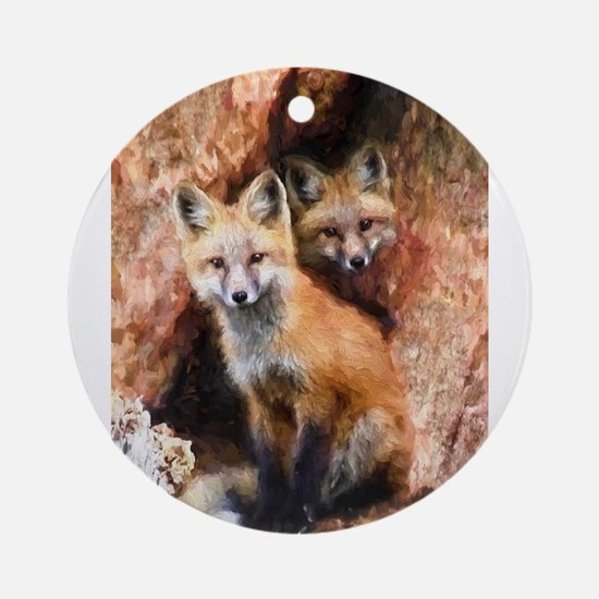 Fox Cubs in Hollow Tree Ornament (Round)