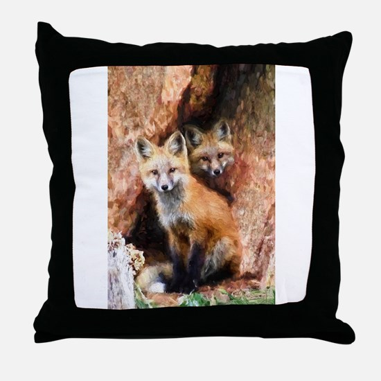 Fox Cubs in Hollow Tree Throw Pillow