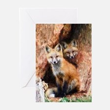 Fox Cubs in Hollow Tree Greeting Cards