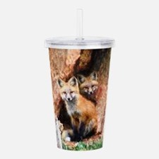 Fox Cubs in Hollow Tre Acrylic Double-wall Tumbler