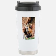 Fox Cubs in Hollow Tree Stainless Steel Travel Mug