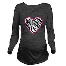 zebra heart.png Long Sleeve Maternity T-Shirt