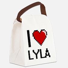 I Love Lyla Digital Retro Design Canvas Lunch Bag