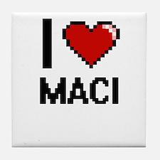 I Love Maci Digital Retro Design Tile Coaster
