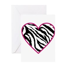 zebra heart.png Greeting Cards