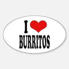 I Love Burritos Oval Decal