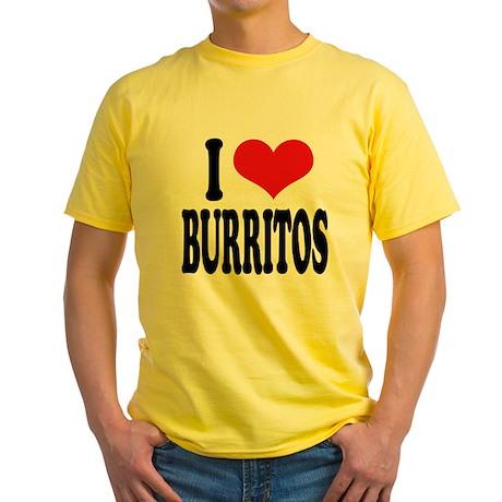 I Love Burritos Yellow T-Shirt