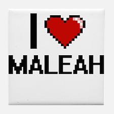 I Love Maleah Digital Retro Design Tile Coaster