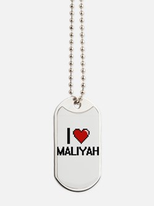 I Love Maliyah Digital Retro Design Dog Tags