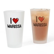 I Love Marissa Digital Retro Design Drinking Glass