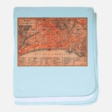 Vintage Map of Nice France (1914) baby blanket