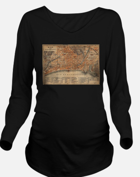 Vintage Map of Nice Long Sleeve Maternity T-Shirt