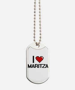 I Love Maritza Digital Retro Design Dog Tags