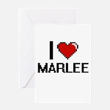 I Love Marlee Digital Retro Design Greeting Cards