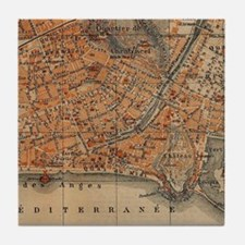 Vintage Map of Nice France (1914) Tile Coaster