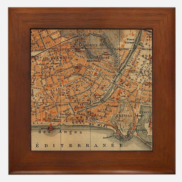 Vintage Map of Nice France (1914) Framed Tile