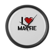I Love Mattie Digital Retro Desig Large Wall Clock