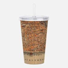 Vintage Map of Nice Fr Acrylic Double-wall Tumbler