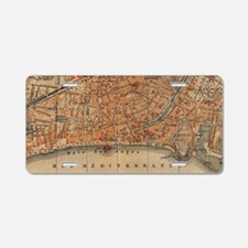 Vintage Map of Nice France Aluminum License Plate