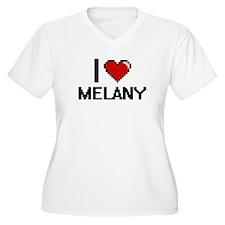 I Love Melany Digital Retro Desi Plus Size T-Shirt