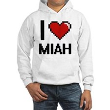 I Love Miah Digital Retro Design Hoodie Sweatshirt