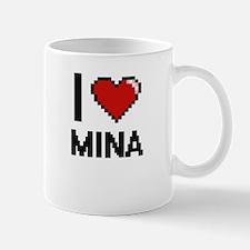 I Love Mina Digital Retro Design Mugs