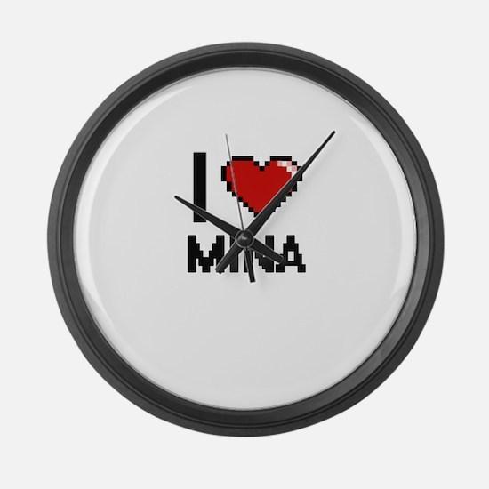 I Love Mina Digital Retro Design Large Wall Clock